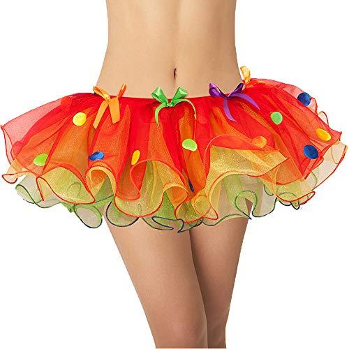 Yummy Bee Falda de tut multicolor para mujer  Tut de orgullo de payaso  Talla 8 10 12 14 adulto