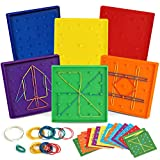 6 Pack Double-Sided Geoboard Mathematical Manipulative Material Array Block Geo Board, Educational Toy for Kids with Rubber Bands and 15pcs Pattern Card, STEM Shape Puzzle Brain Teaser Toy, 5x5 Inch