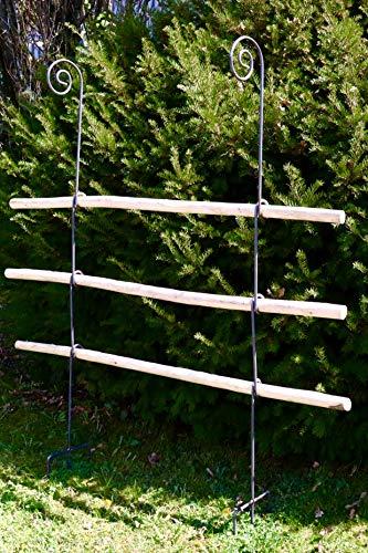 terracotta24 Rankgitter aus Holz/Metal stabil und freistehende Dekoration für den Garten in Naturrost als Rankhilfen für Kletterpflanzen Rosen Himbeeren Höhe 170 cm