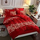 huyiming bed linings Utilizado para Textiles para el hogar, Ropa de Cama de algodón de Cuatro Piezas, Ropa de Cama para Estudiantes, 1.5m, Juego de Cuatro Piezas