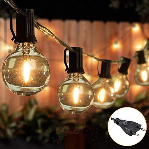 Ibello Guirnaldas Luces Exterior Blanco Cálido 25FT G40 25+2 bombillas incandescentes Guirnalda luminosa con enchufe Festoon Plug-in Decoración Impermeable para Terraza, Feria, Patio,Cena