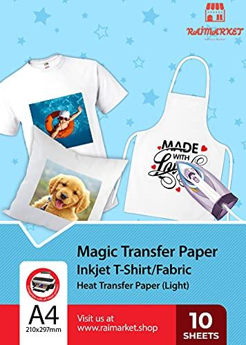 Hierro sobre papel de transferencia para tela claras, blancas y transparente (Magic Paper) de Raimarket | 10 hojas | Transferencia de hierro A4 para inyección de tinta en papel   camisetas