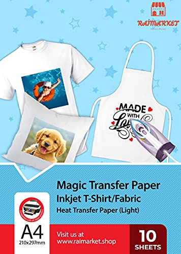 Raimarket Heat Transfer Paper For T Shirts - Iron On Transfer Paper for White And Light Fabrics Using Inkjet Printing - Pack of 10 Printable Sheets Size A4 for DIY and Custom Transfers