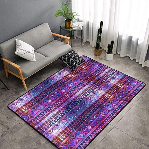Purple Nebula Galaxy Aztec Modern Casual Area Rugs for Living Room Bedroom Carpet Thick Soft Large Flannel Mats Easy to Clean Stain 60 X 39 Inch