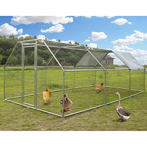 Large Metal Chicken Coop Walk-in Poultry Cage Hen Run House Rabbits Habitat Cage FlatRoofed Cage with Waterproof and Anti-Ultraviolet Cover for Outdoor Backyard Farm Use (9.2' L x 18.4' W x 6.4' H)