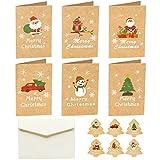 6 tarjetas de felicitación de Navidad con sobres y pegatinas de dibujos animados Santa Claus búho camión muñeco de nieve papel kraft vacaciones DIY tarjetas de mensaje Kraft tarjetas de papel Kraft
