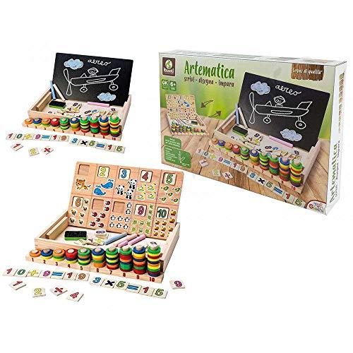 Mediawave Store - Artemática juegos de la infancia 100133 dibuja y aprende con pizarra y tiza, juegos para niños, juegos de inteligencia y matemáticas, ejercicios de casa, aprender de forma sencilla.