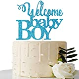 Blue Welcome Baby Boy Cake Topper - Baby Shower Party Decorations -...