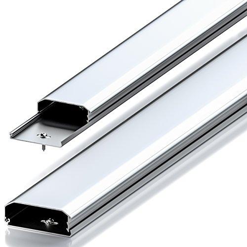 deleyCON Universal Kabelkanal Leitungskanal innovativer Klappmechanismus hochwertiges Aluminium Länge 100cm - Breite 6cm - Höhe 2cm - Silber