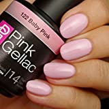 Pink Gellac 122 Baby Pink UV Nagellack. Professionelle Gel Nagellack shellac für mindestens 14 Tage perfekt glänzende Nägel