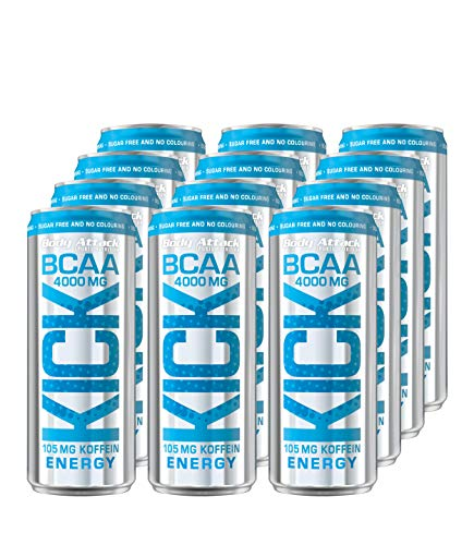 Body Attack BCAA KICK, BCAA Drink mit Aminosäuren, Koffein, vegan, Energy Drink (12x 330ml + Pfand (12x 0,25€))