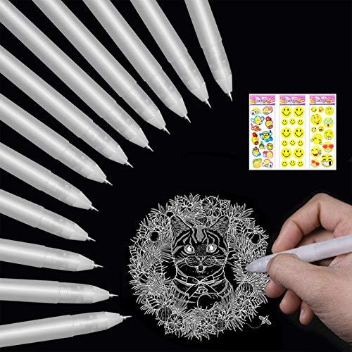 20 Pezzi Penne Gel Bianche Punta Fine,0.8mm Penna sfera, Penne per Schizzi,Penna bianca da disegno per Artista,Carta Scura, Arte e Progettazione Forniture,Disegno