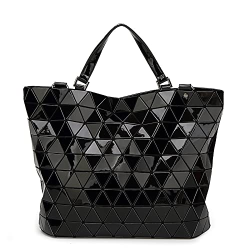 QIANJINGCQ All-match inverted triangle fashion folding large bucket bag shoulder portable messenger sequined laser PU diamond bag backpack