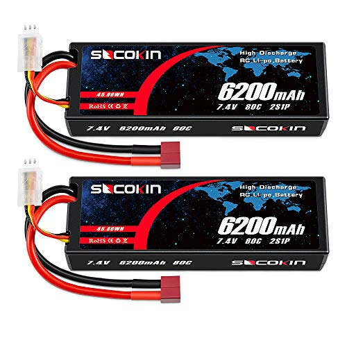 Socokin 7.4V Lipo Battery 2S 6200mAh 80C with Hard Case Deans T for RC Racing Truck RC Boat RC Racing Car Racing RC Heli Airplane and Tracxas Slash 1/10 Scale Racing Truck (2 Pack)