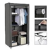 SONGMICS Stoffschrank, Kleiderschrank, 2 Kleiderstangen, 6 Ablagen, Verschiedene Aufbaumöglichkeiten, 88 x 45 x 170 cm, für Schlafzimmer, Ankleidezimmer, grau RYG84G - 7