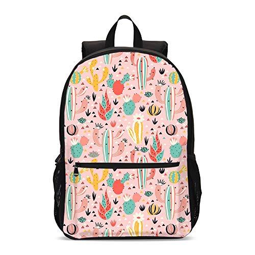 Delerain - Mochila escolar de cactus de colores, ligera, para viajes, 17 pulgadas, bolsa para ordenador portátil, bolsa de libro para 1 a 6º grado para adolescentes y niñas