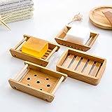 Kaxich 2 Stück Seifenschale Natürlicher Bambus Holz Seifenhalter Seifenkiste Seifenhalterung für Badezimmer Dusche Küche Waschbecken - 6