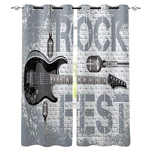 Cortinas Opacas Rock Guitar Music 2X Cortina Salón De Panel Ventana Dormitorio Decotativo De Fiesta Cáfe Oficina 150×166Cm