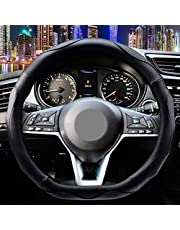 ZATOOTO D Shaped Steering Wheel Cover - Shallow Black Flat Bottom Steering Wheel Accessories Sports Pu Leather D Cut Female Male Universal 15 Inch Breathable Massage Non Slip Design for Better Grip