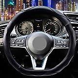 D Shaped Steering Wheel Cover - Flat Bottom Black Sport PU Leather D Cut for Women Men Universal 15 inch Breathable Massage Better Grip 120D Black