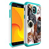 Galaxy J7 Refine/J7 2018/J7 Star/J7 Top/J7 Aura/J7 Aero/J7 Crown/J7 Eon Case,Skyfree Heavy Duty Dual Layer Bumper Protective Phone Case for Samsung Galaxy J7 2018,The Cat Collage Cats