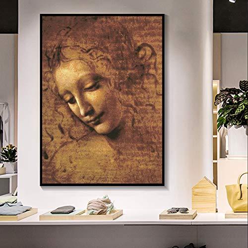 zhuziji DIY Pintar por números ardo da Vinci Cabeza de Mujer Giclee pintó Cuadros de Arte de Pared de Arte clásico para la Sala de Estar Dormitorio Sthdy40x60cm(Sin Marco)
