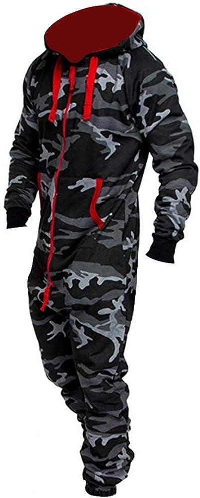 Loozykit Grenouill/ère Homme Combinaison de Sport Sweat-Shirt V/êtements De Sport Sweat A Capuche Veste Hoodie Zip Pullover Jogging Surv/êtement Salopette Chaud