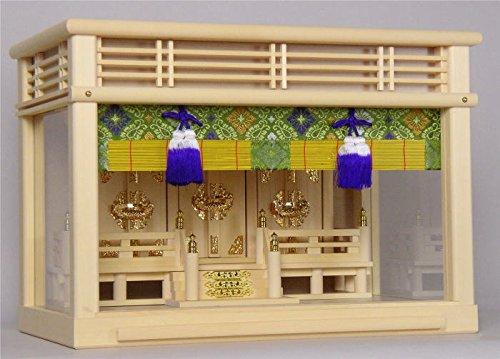 ハセガワ仏壇『神棚 神具七点セット付 壁掛できるガラスケース入』