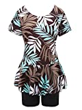 Knaspor One Piece Swim Dress Modest Swimsuit for Women Floral Leaf Print Short Sleeve Swimwear Light Blue