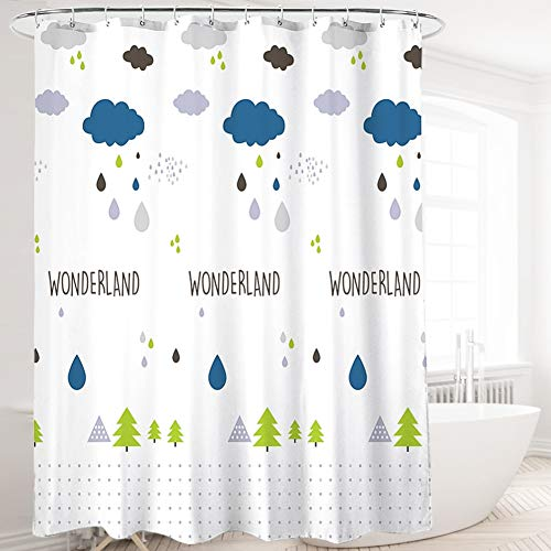 Sooair Duschvorhang - Polyester Wasserdicht Antischimmel Badezimmer Vorhänge mit 12 Haken, Blaue Wolken und...