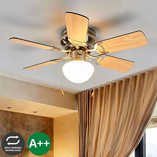 Lindby Deckenventilator mit Beleuchtung und Zugschalter leise & klein | 2-in-1: Ventilator & Lampe | Durchmesser: 76 cm | 3 Geschwindigkeitsstufen | Sommer- & Winterbetrieb