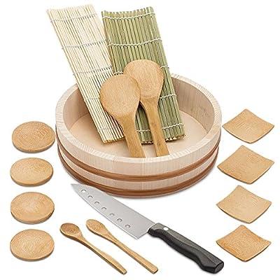 Elvoki Sushi Making Kit - 11-Piece & 16 Piece DIY Sushi Rolls Maker Set with Sushi Knife - Easy and Fun - Have Fun + Save Money