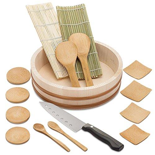 elvoki Bambus Sushi-Kit–Have Fun + Sparen Sie Geld–Sushi Oke Badewanne–15tlg. Zubehör Pack Plus Sushi Messer