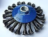 2 spazzole coniche Ø 115 mm – Spazzola abrasiva intrecciata – M14 x 2 spazzola metall...
