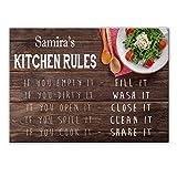 Samira's Kitchen Rules - Tabla de cortar de cristal para encimera (regalo para Samira, en 2 tamaños, tamaño grande/texturizado)