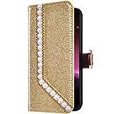 Uposao Samsung Galaxy S5 Funda Libro con Tapa de Cuero, Purpurina Funda Diamante Glitter Brillante Perlas Corazón Patrón Carcasa Billetera Tarjetero,Cierre Magnético,Soporte Flip Case,Oro