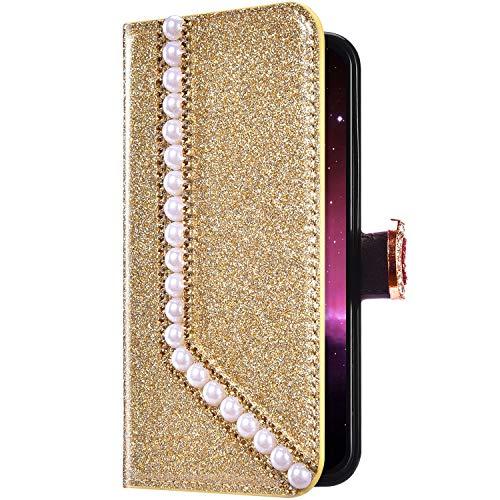 Uposao Compatibile con iPhone 6 Plus/6S Plus Glitter Cover Portafoglio Disegno Brillantini Diamond Cuore Amore a Libro in PU Pelle Libretto Magnetica Custodia con Supporto Antiurto Protettiva,Oro