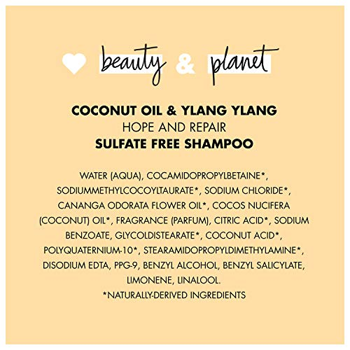 Love Beauty And Planet Hope and Hair Repair Sulfate- Free Shampoo for Split Ends and Dry Hair Coconut Oil & Ylang Ylang Hair Repair, Damaged Hair Treatment 32.3 oz