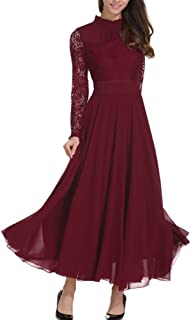 Roiii Women's Formal Floral Lace Chiffon Long Sleeve Ruched Neck Long Dress Evening Cocktail Party Maxi Dress