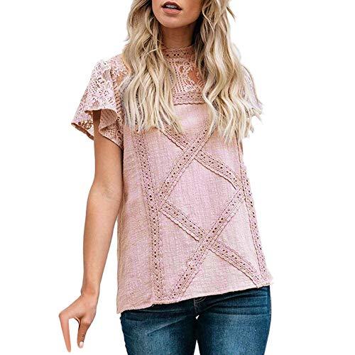 ESAILQ Bekleidung Damen körper bluse nicht zutreffend runde kragen-lange hülsen-bluse klein rosa