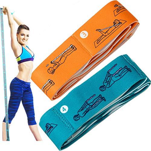 Tangger 2 PCS Stretch Strap Cinturon Yoga con 11 Anillos,Bandas Elasticas Fitness Resistencia for Yoga Exercises Dance Flexibility,Banda de Estiramiento Terapia Física,Verde y Naranja