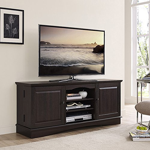 """Walker Edison Traditional Wood Universal Stand with Storage Cabinet for TV's up to 75"""" Living Room Entertainment Center, 60"""", Espresso"""