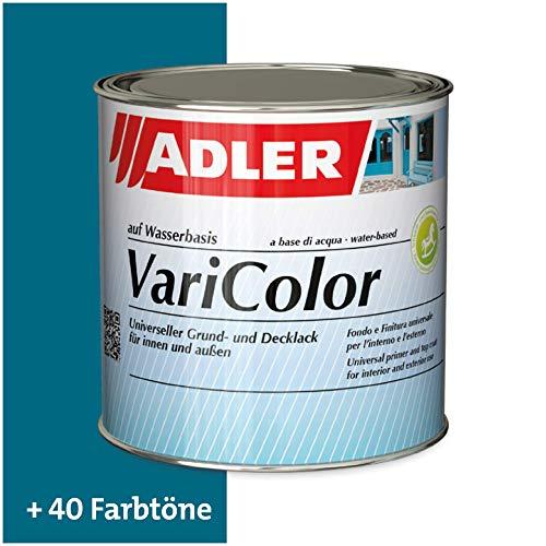 ADLER Varicolor 2in1 Acryl Buntlack für Innen und Außen - 375 ml C12 116/2 Blaue Lagune Blau - Wetterfester Lack und Grundierung für Holz, Metall & Kunststoff - Seidenmatt