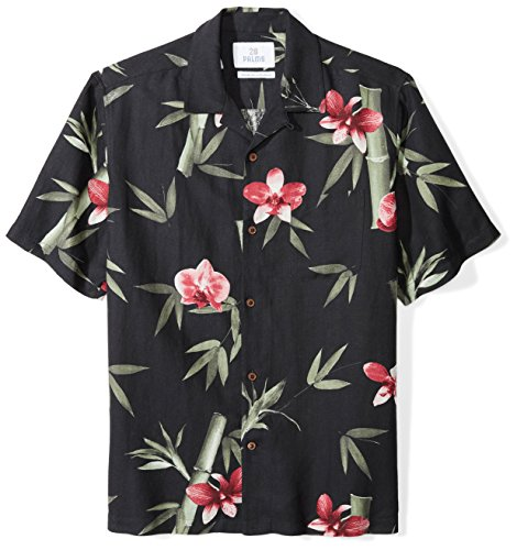 Amazon Brand - 28 Palms Men's Relaxed-Fit Silk/Linen Tropical Hawaiian Shirt, Black/Pink Bamboo Orchid, XX-Large