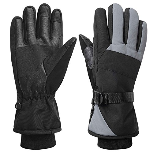 Women Waterproof Windproof Ski Gloves, 3M Thinsulate Snowboard Snowmobile Glove,Black,Medium