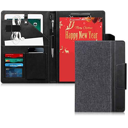 クリップボード a 4 バインダ toplive 布 模様 レザー 会議 パッド ビジネス ファイル 収納 ポケット 搭載 ペン ホルダ 付き マグネット 開閉式 ブラック