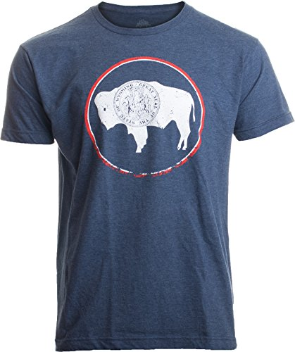 Vintage Wyoming Flag | Crest and Buffalo WY State Pride Men or Women T-Shirt-(Adult,XL) Heather Navy