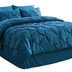 Pinch Pleated Design: Bedsure Pintuck Down Alternative comforter set Bed In Bag features attractive intricate pleated design detailing in artistic diamond pattern - Present contemporary appeal derived from crafted Pinch Pleat technique and each Pintu...