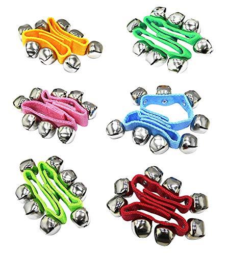 12 PCS del bebé de nylon de pulsera niños Bells traqueteos pulsera del anillo 6 colores al azar