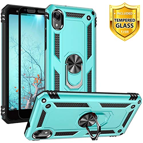 TJS Phone Case for Motorola Moto E6, with [Full Coverage Tempered Glass Screen Protector] [Impact Resistant][Defender][Metal Ring][Magnetic Support]...